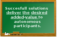 Successful solutions deliver the desired added-value to autonomous participants.